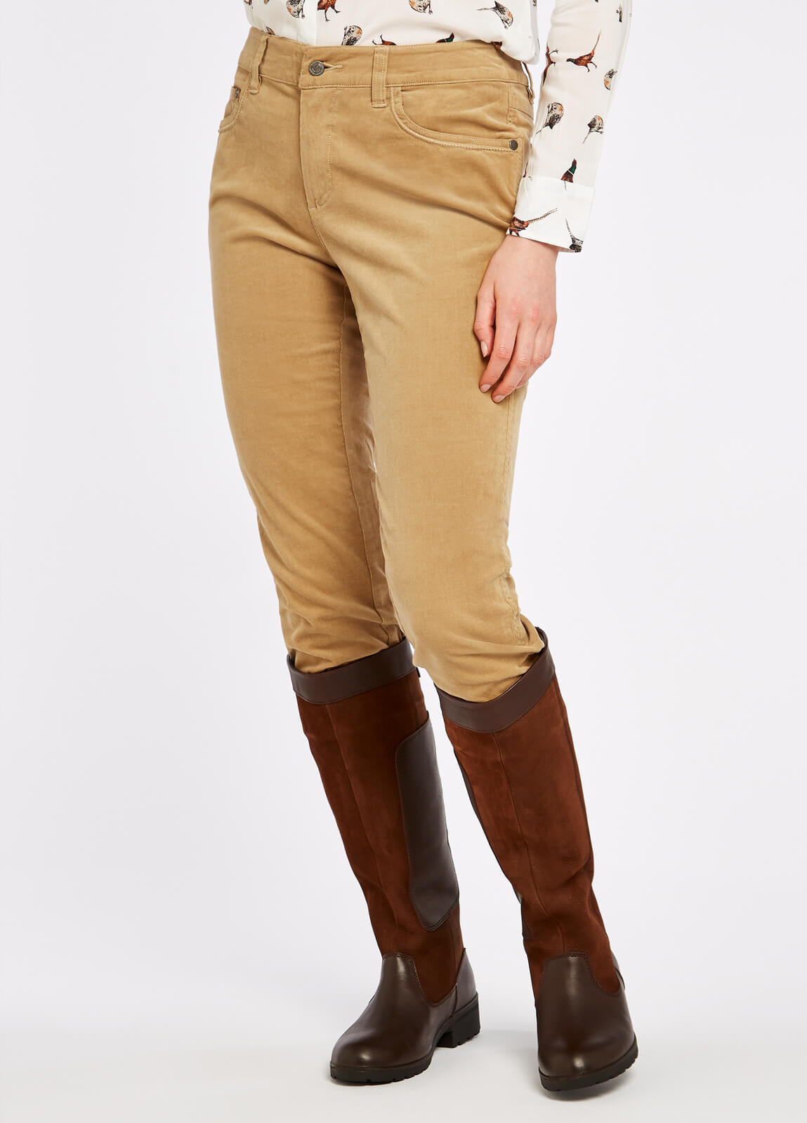 Dubarry_Honeysuckle_Jeans_Camel_on_model