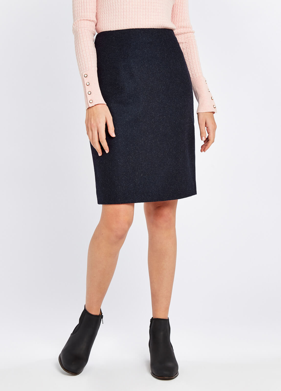 Dubarry_Fern_Tweed_Skirt_Navy_on_model
