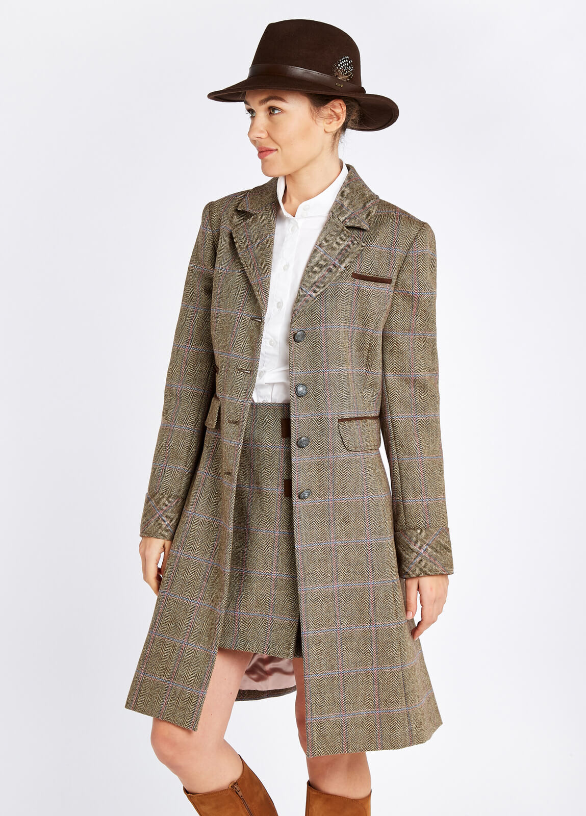 Dubarry_Blackthorn_Tweed_Jacket_Woodrose_on_model