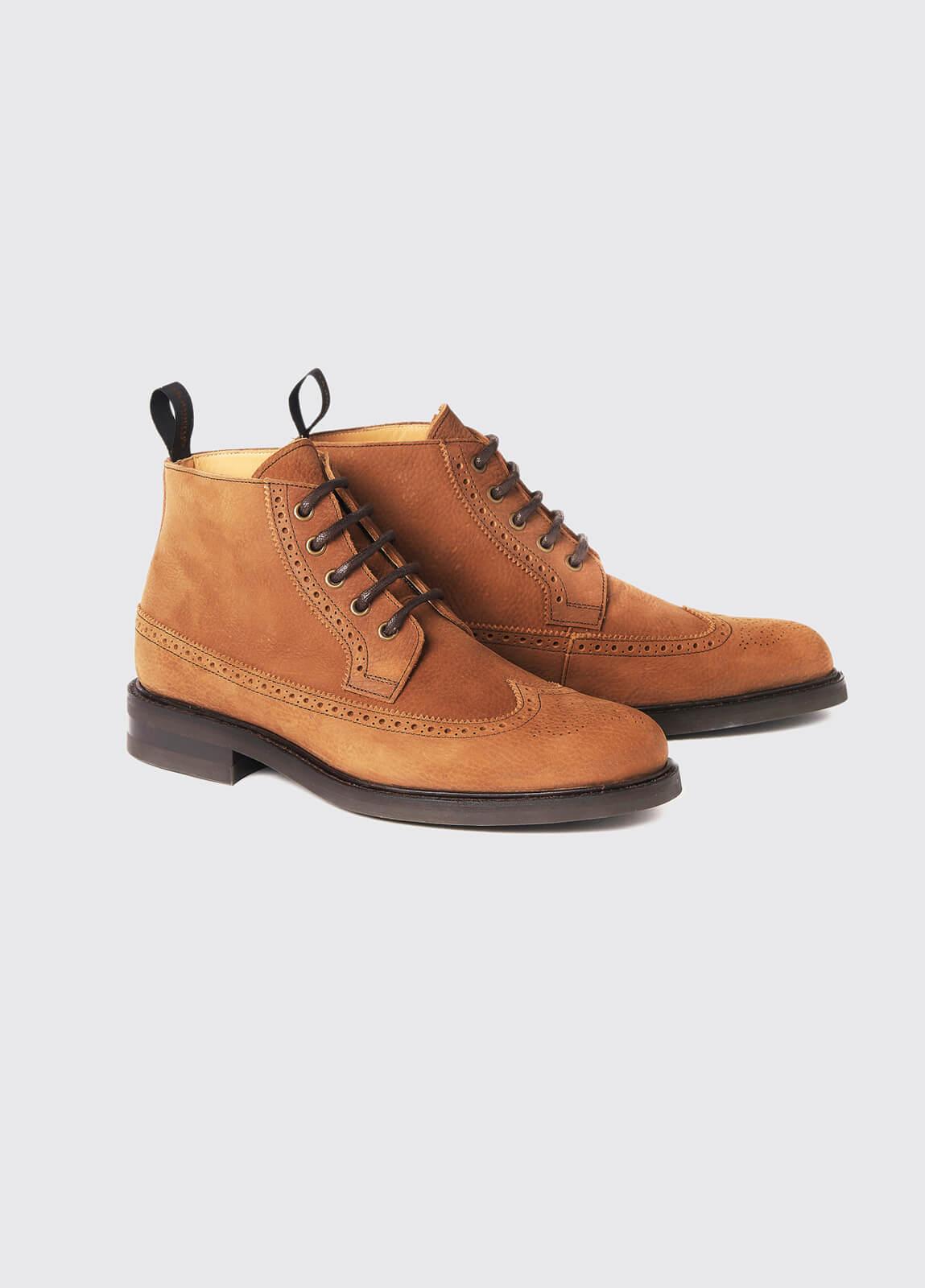 Down Goodyear Brogue Boot - Brown