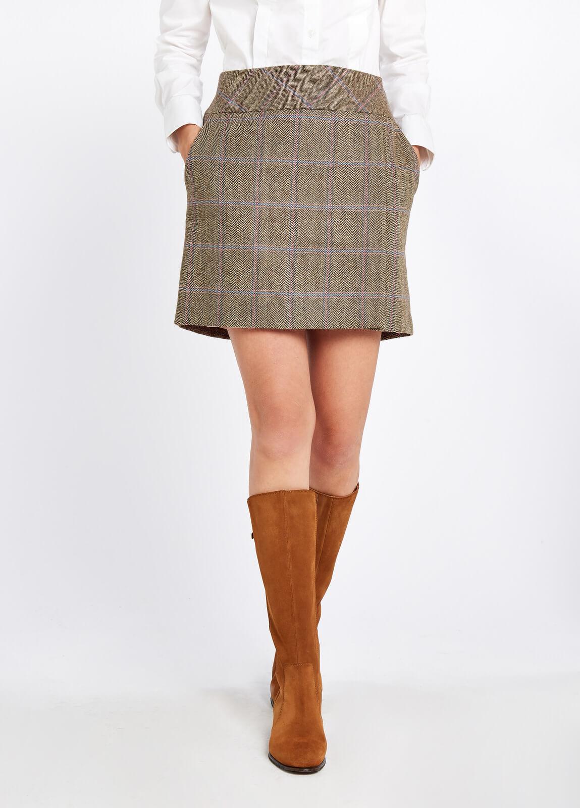 Dubarry_Bellflower_Tweed_Skirt_Woodrose_on_model