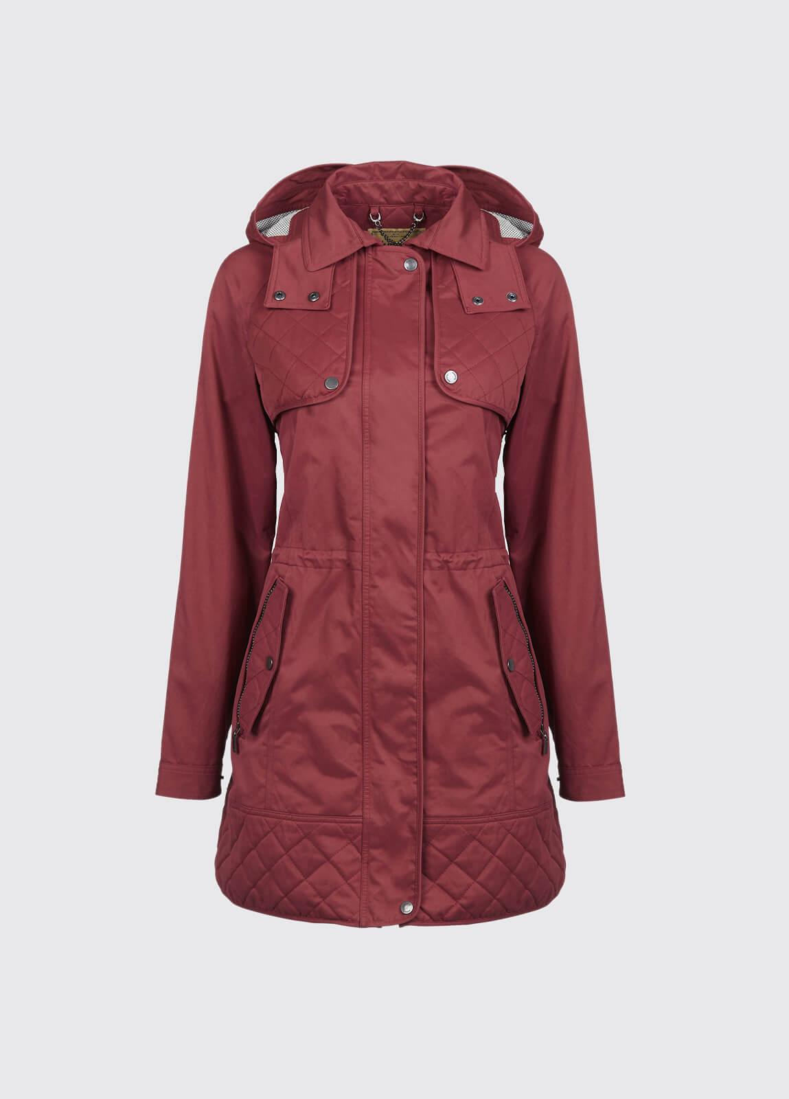 Barrington Women's Waterproof Hooded Coat - Merlot Multi