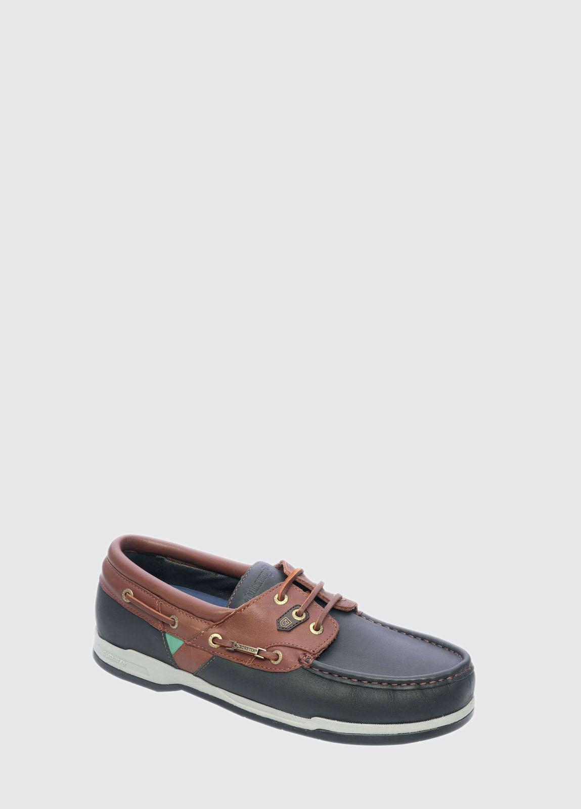 Helmsman Mens Boot Shoe - Navy/Walnut Leather