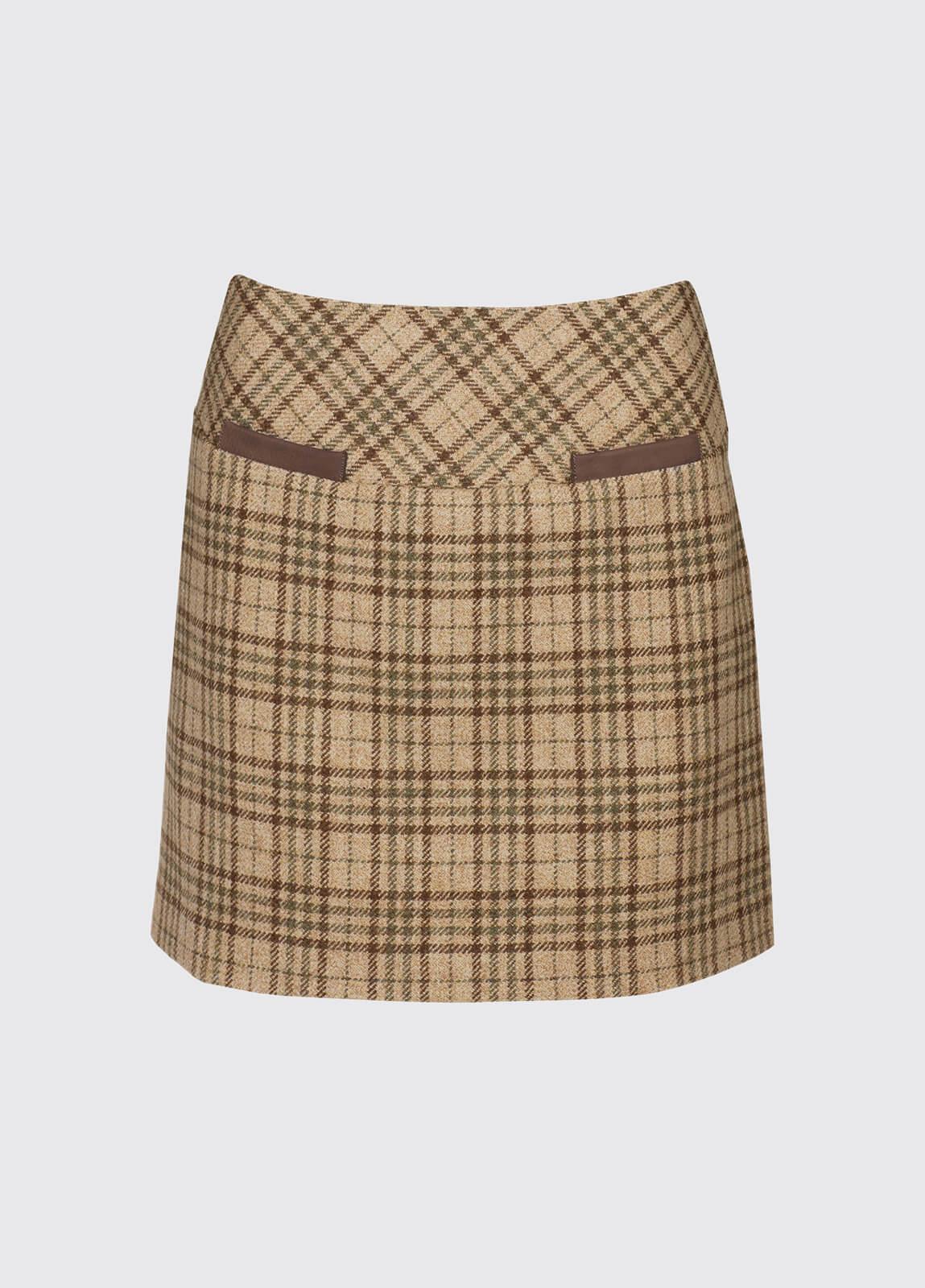 Clover Tweed Mini Skirt - Pebble