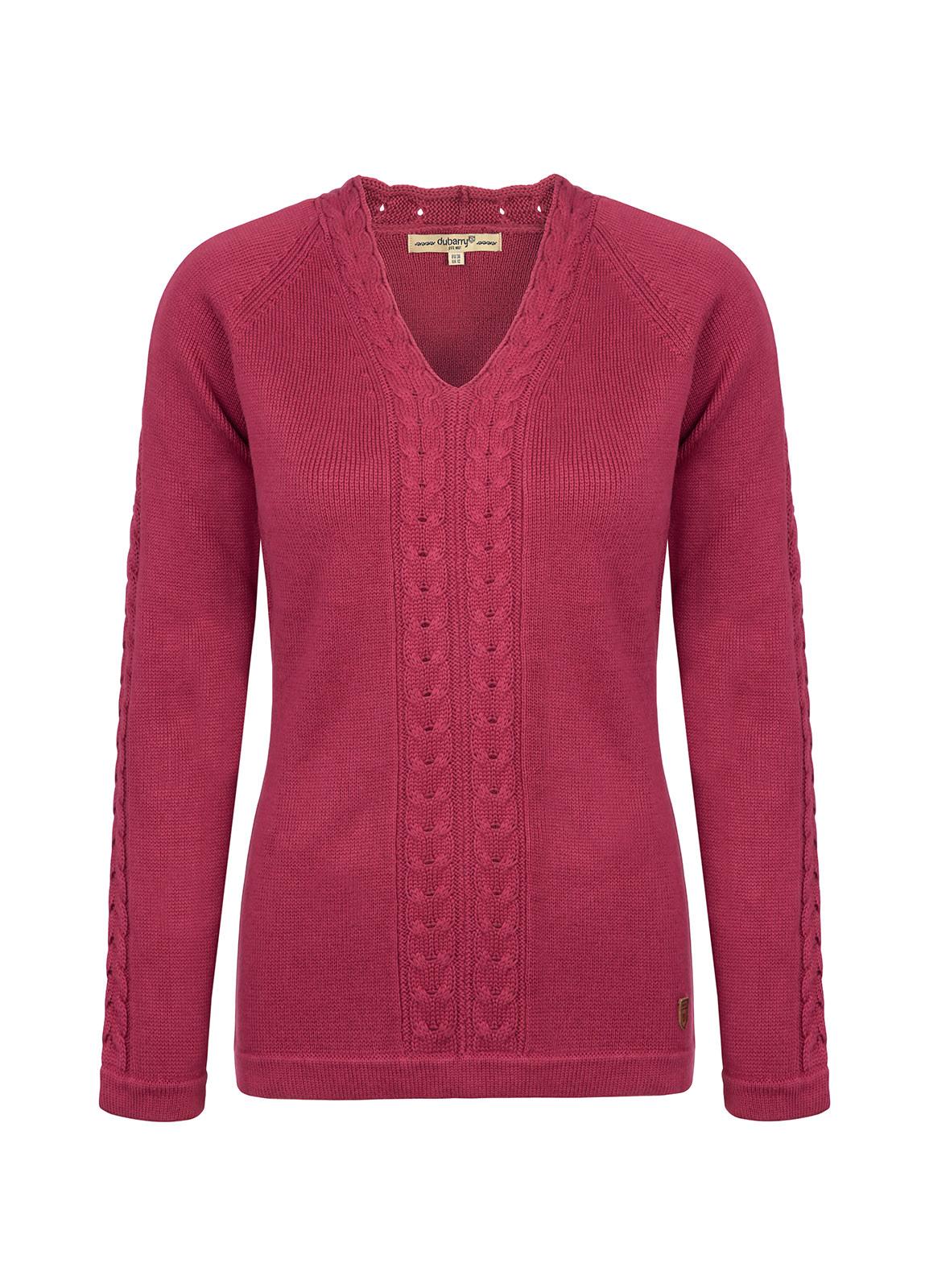 Dubarry_Carolan Women's V-neck Knitted Sweater - Merlot Multi_Image_2