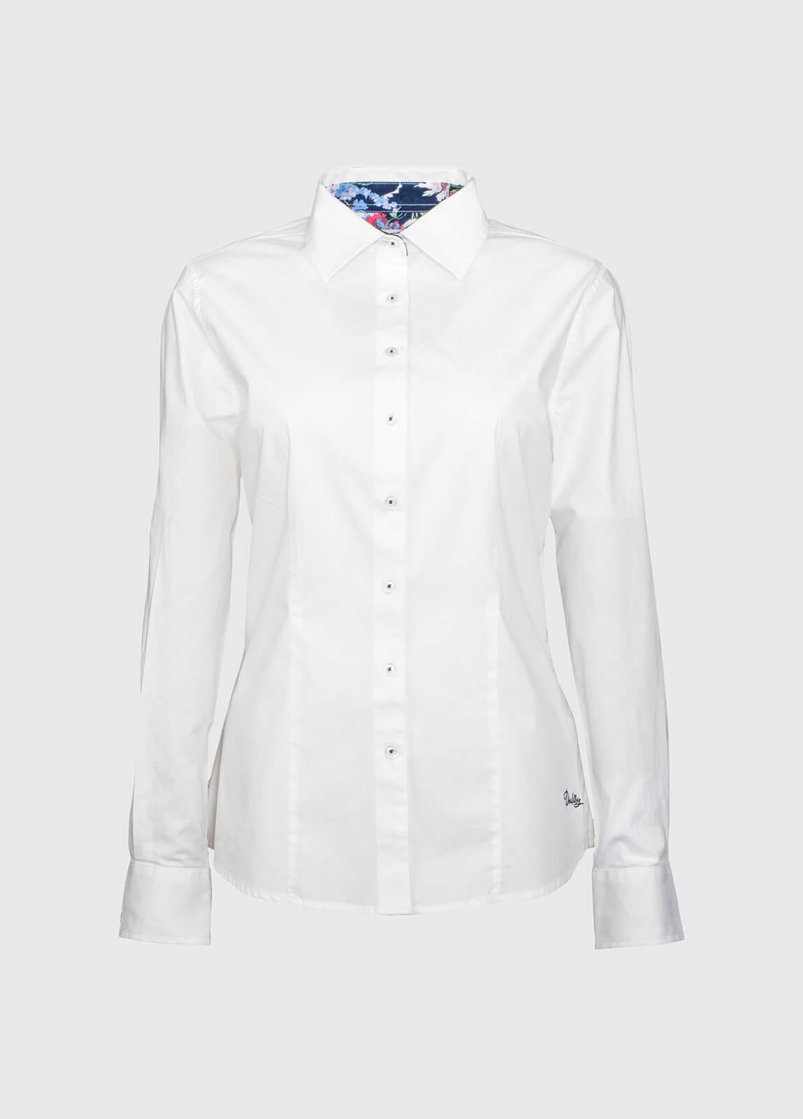 Petunia Floral Trim Shirt - White