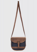Clara Leather Saddle bag - Navy/Brown