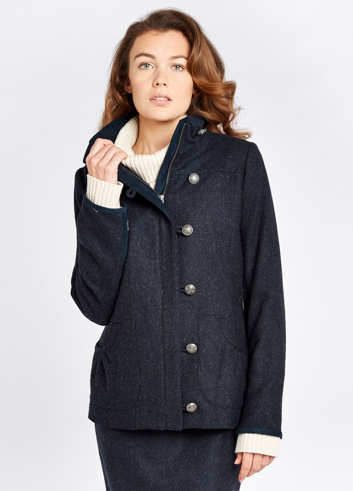 Dubarry_Bracken_Tweed_Coat_Navy_on_model