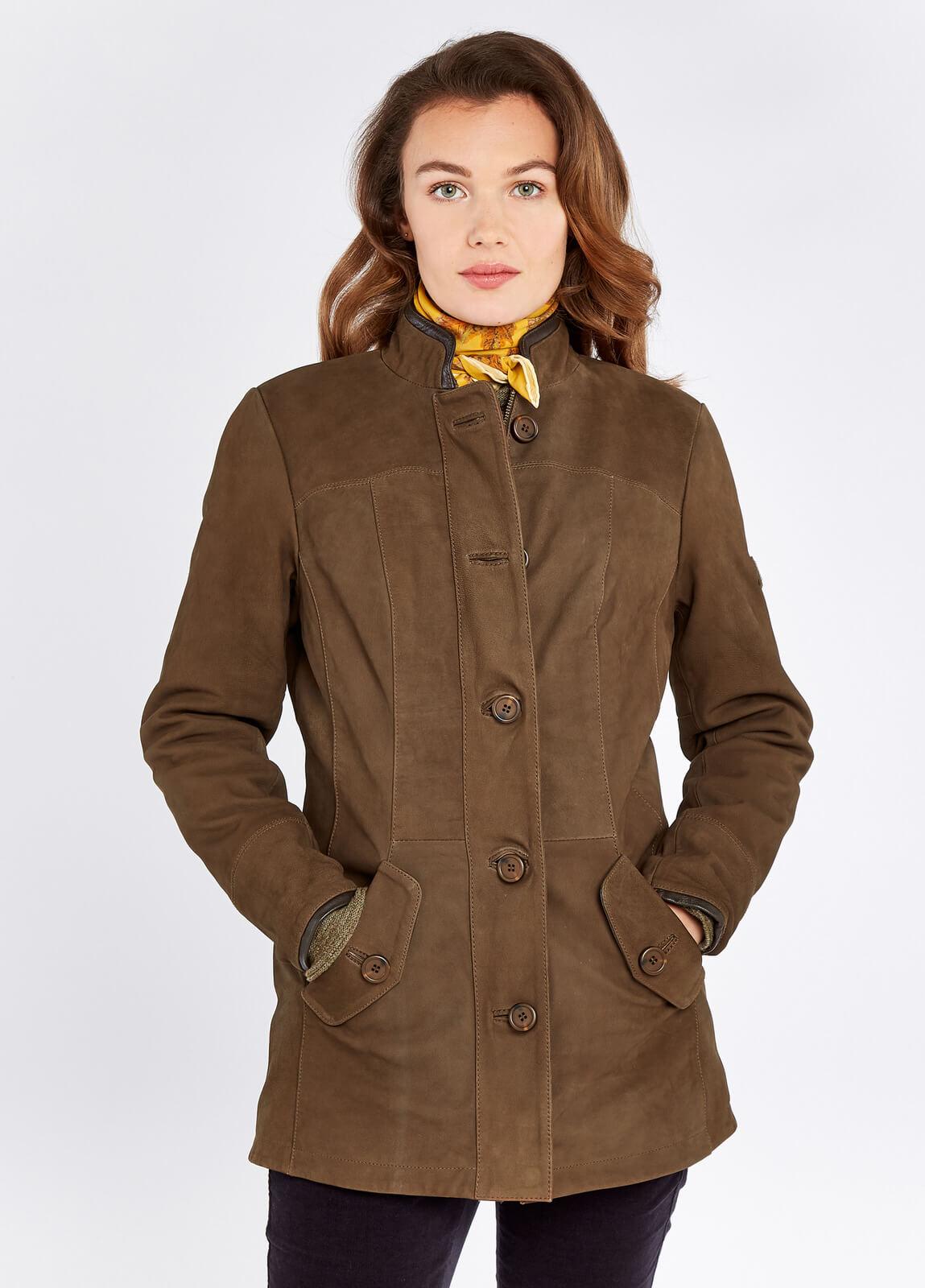Dubarry_Joyce_Leather_Jacket_Walnut_on_model