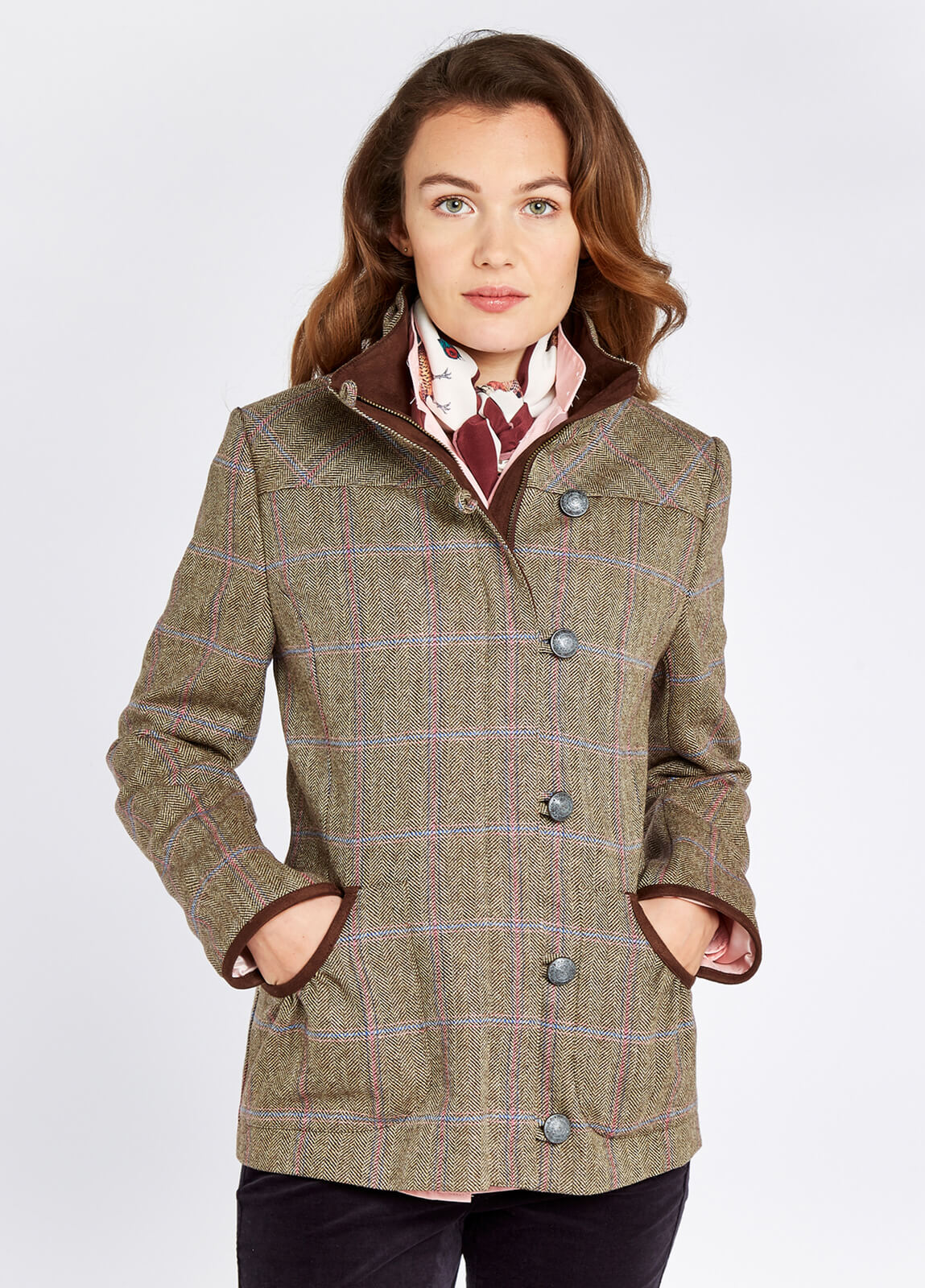 Dubarry_Bracken_Tweed_Coat_Woodrose_on_model