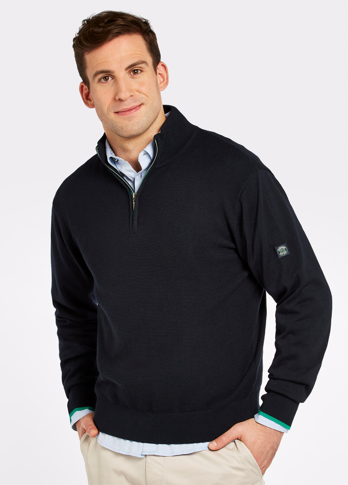 Dubarry_Brosna_Zip_Neck_Sweater_Navy_on_model