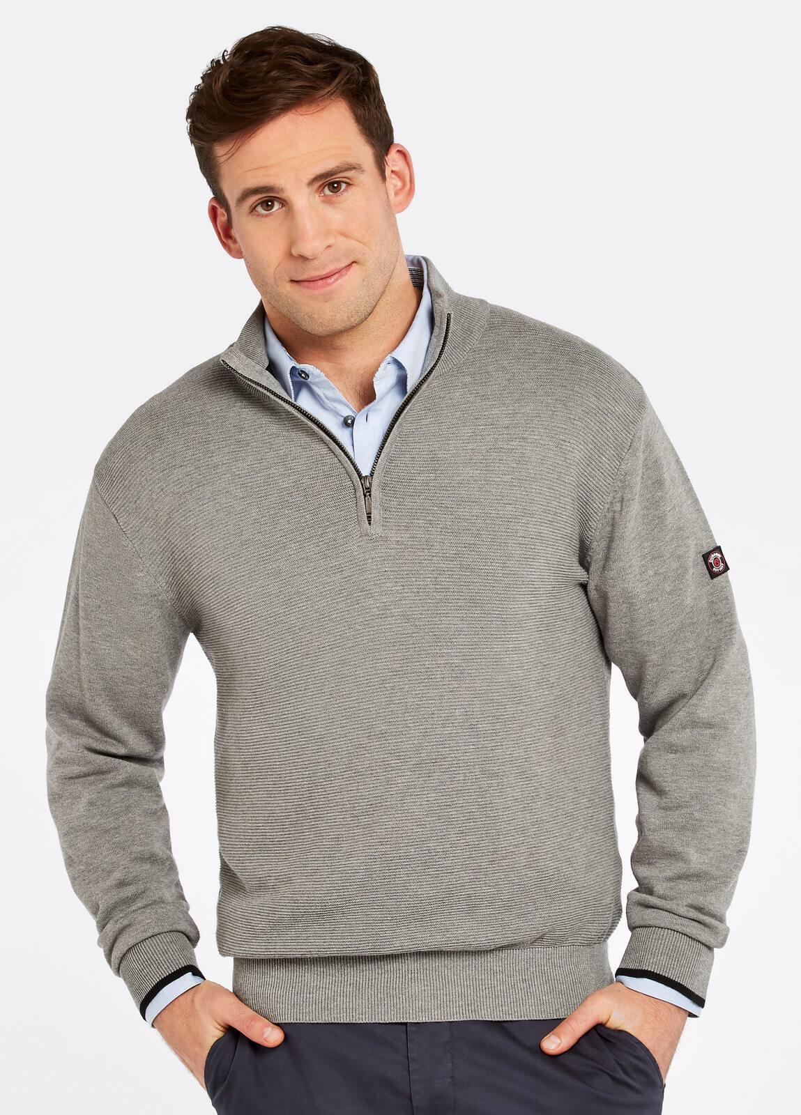 Dubarry_Brosna_Zip_Neck_Sweater_Grey_on_model