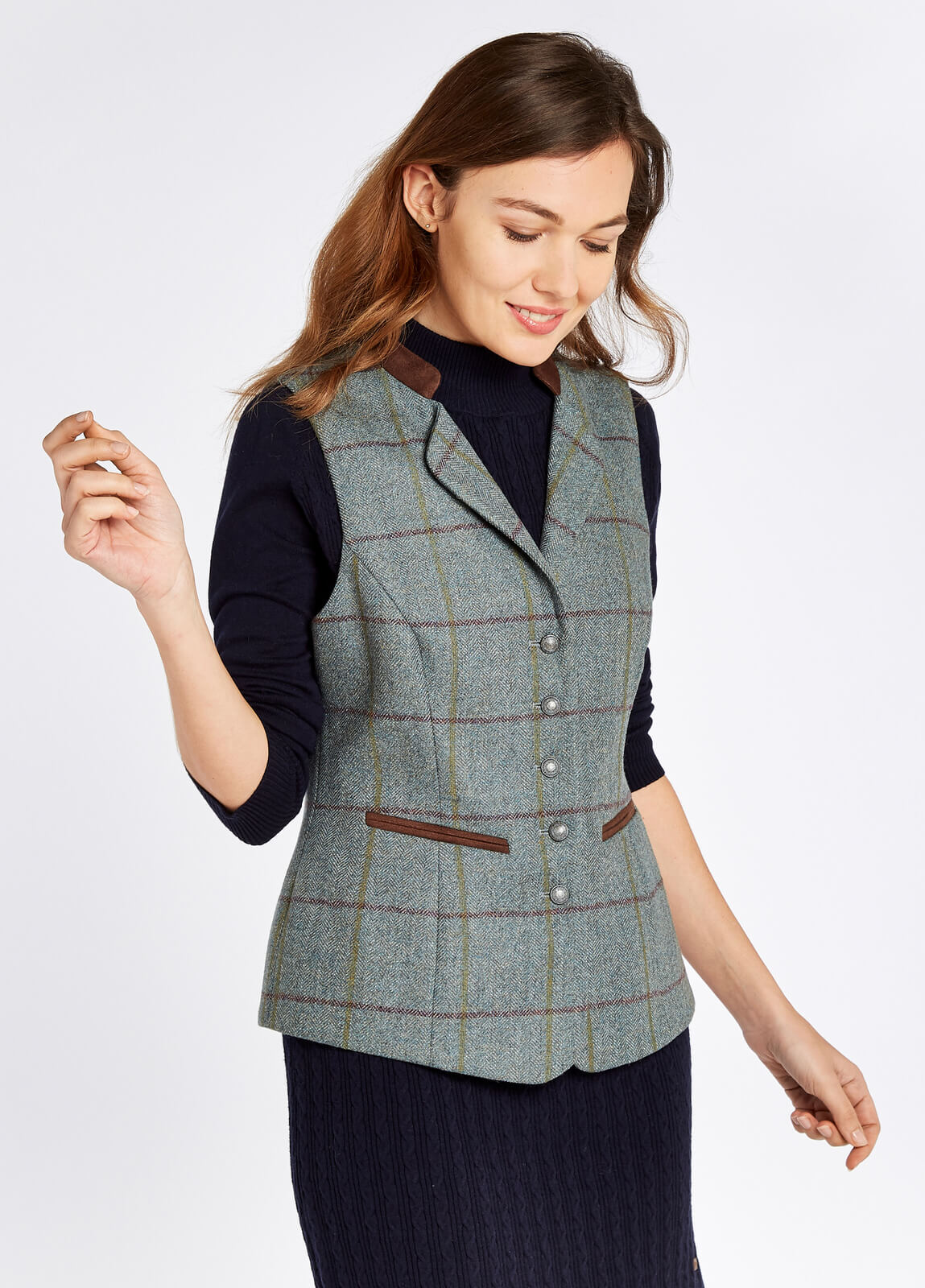 Dubarry_Spindle_Tweed_Waistcoat_Sorrel_on_model