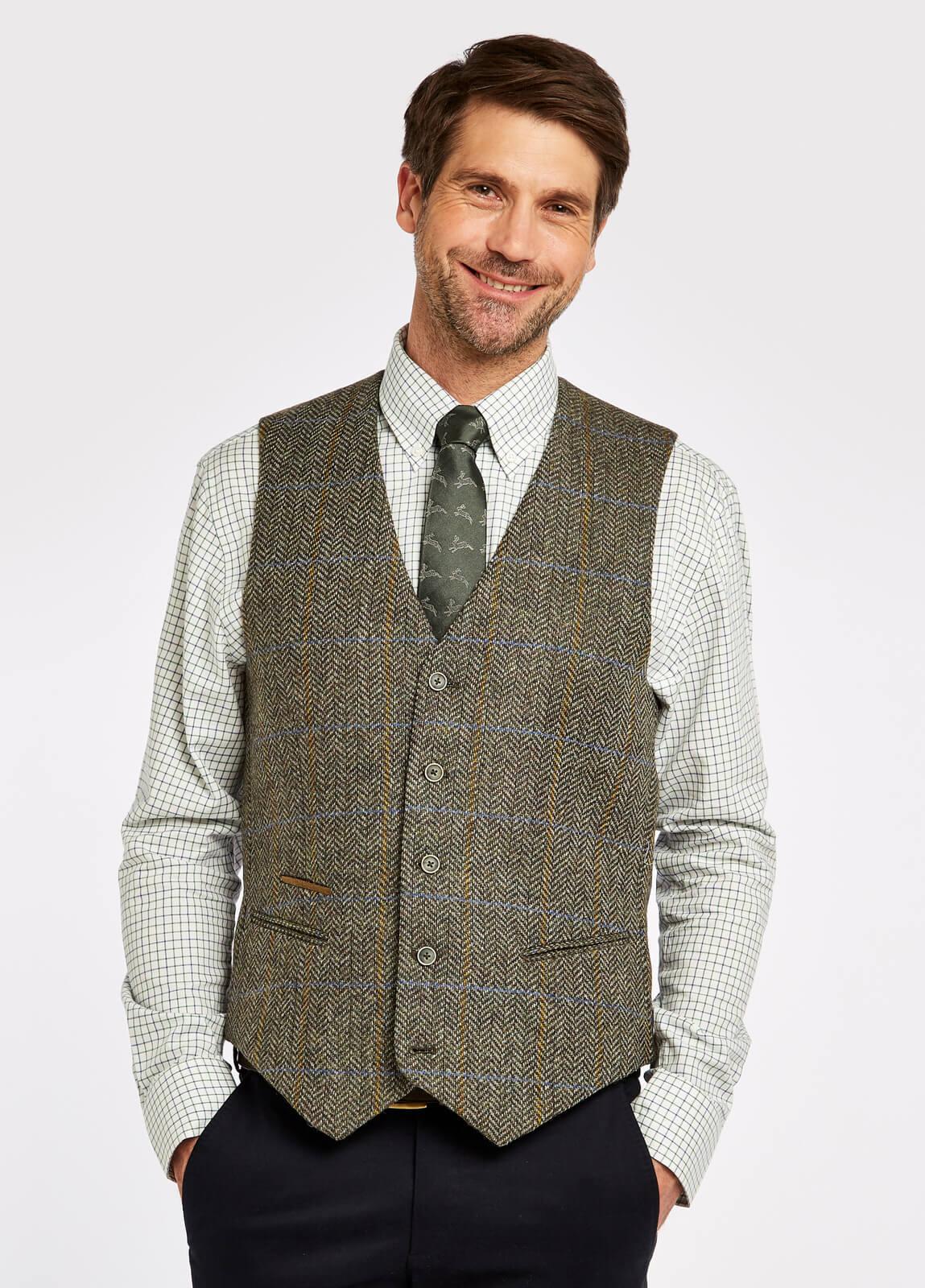 Ballyshannon_Tweed_Waistcoat_Woodbine_on_model