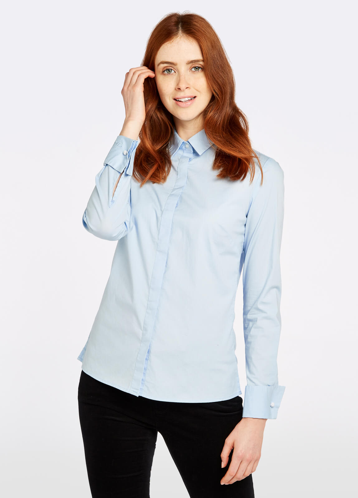 Dubarry_Daffodil_Shirt_Pale_Blue_on_model
