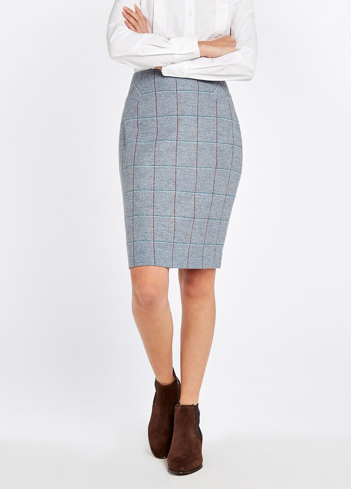 Fern Tweed Skirt - Blue Heather