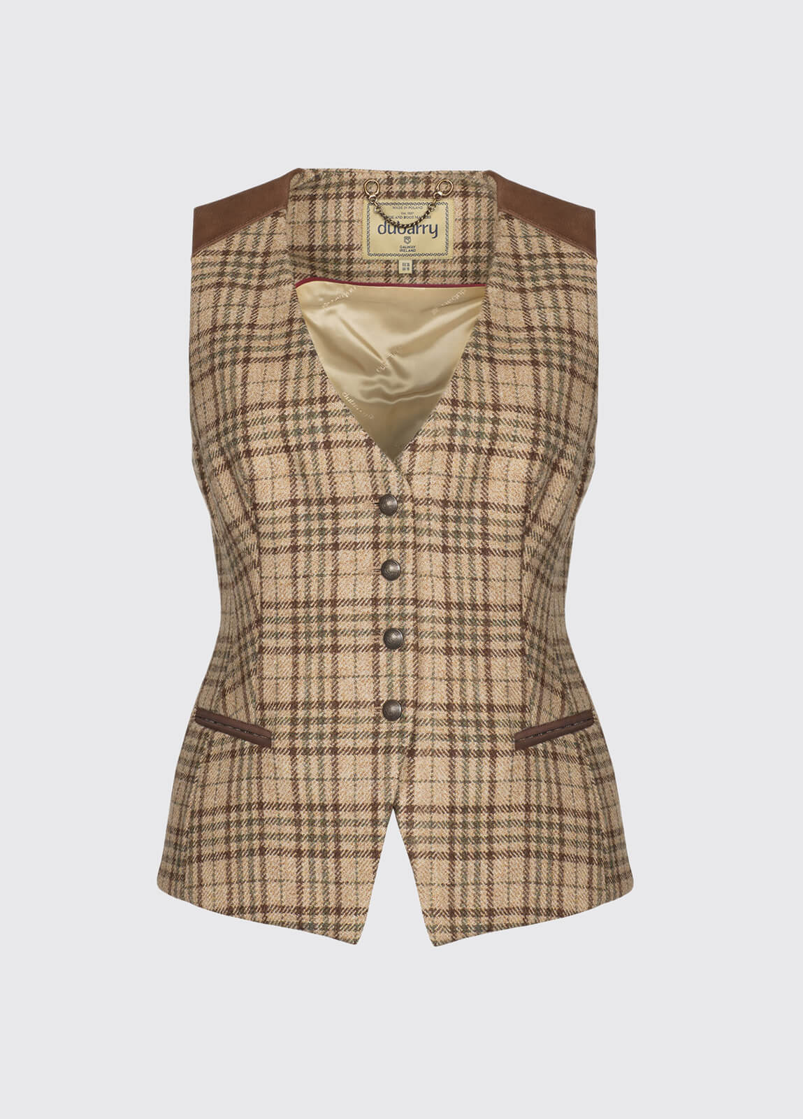 Daisy Fitted Tweed Waistcoat - Pebble
