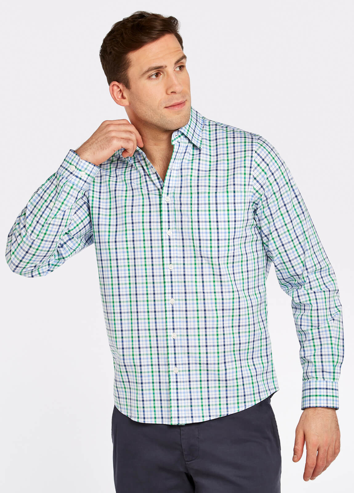 Dubarry_Rathdrum_Check_Shirt_Kelly_Green_on_model