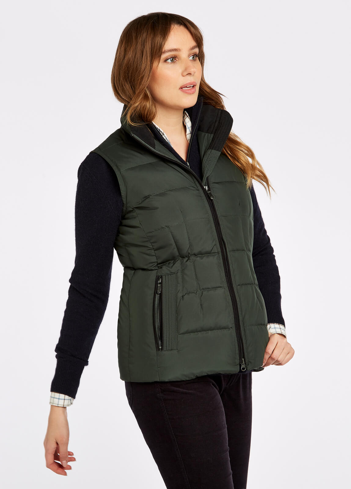 Dubarry_Spiddal_Quilted_Gilet_Spruce_on_model