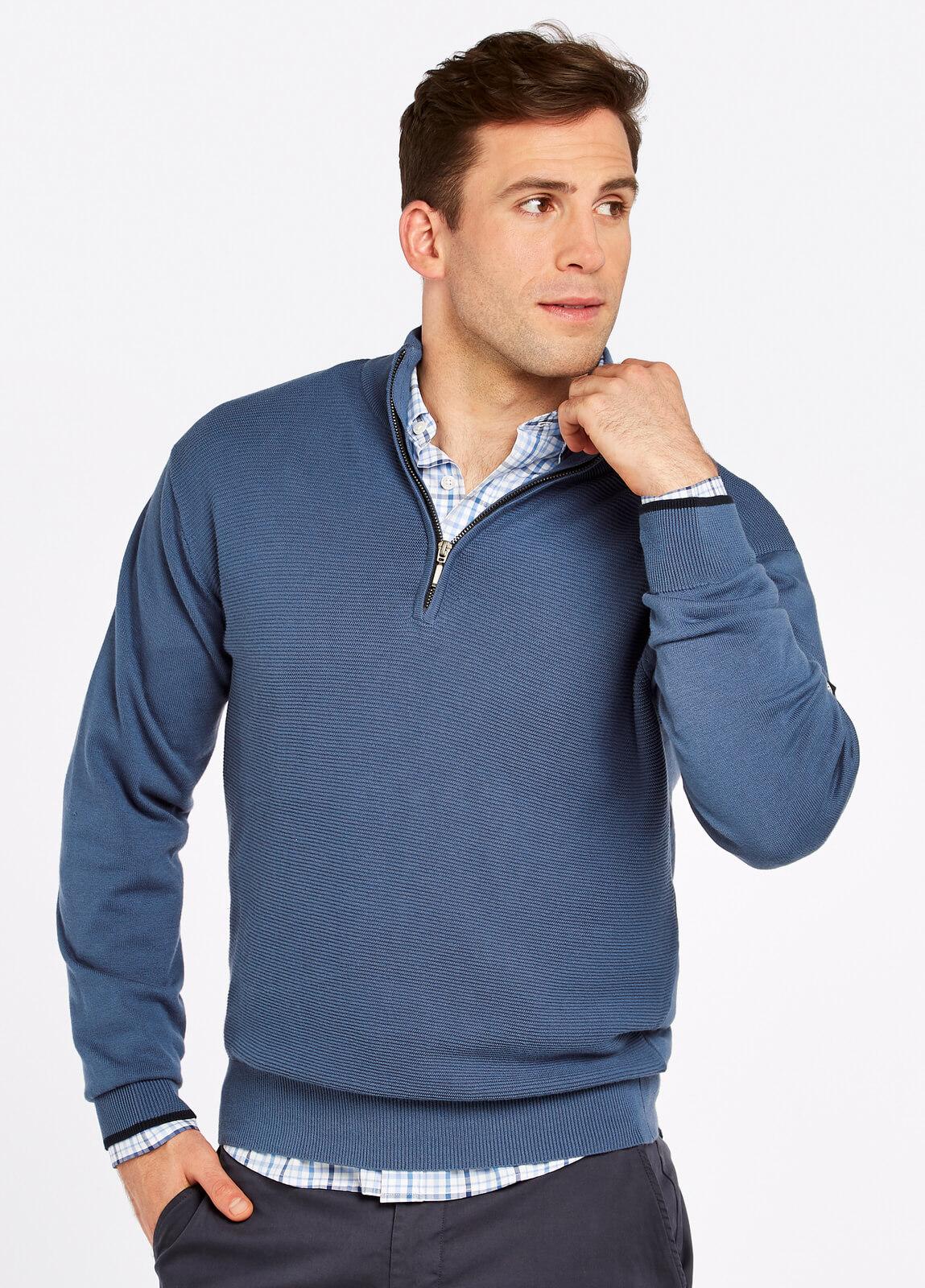 Brosna Zip Neck Sweater Denim