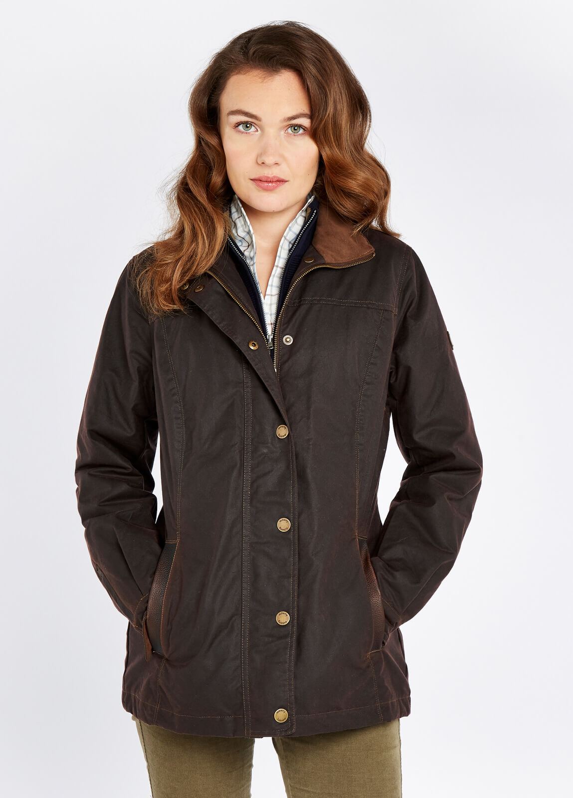 Dubarry_Mountrath_Waxed_Jacket_Java_on_model