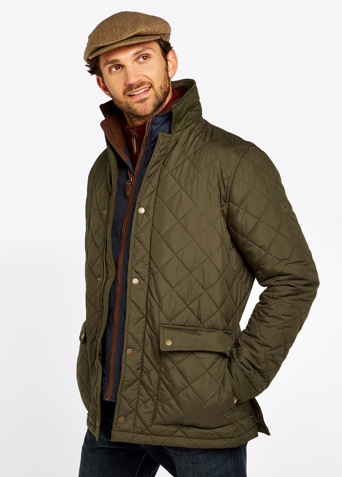 Adare_Quilted_Jacket_Olive_on_model