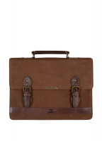 Belvedere Leather Brief - Walnut