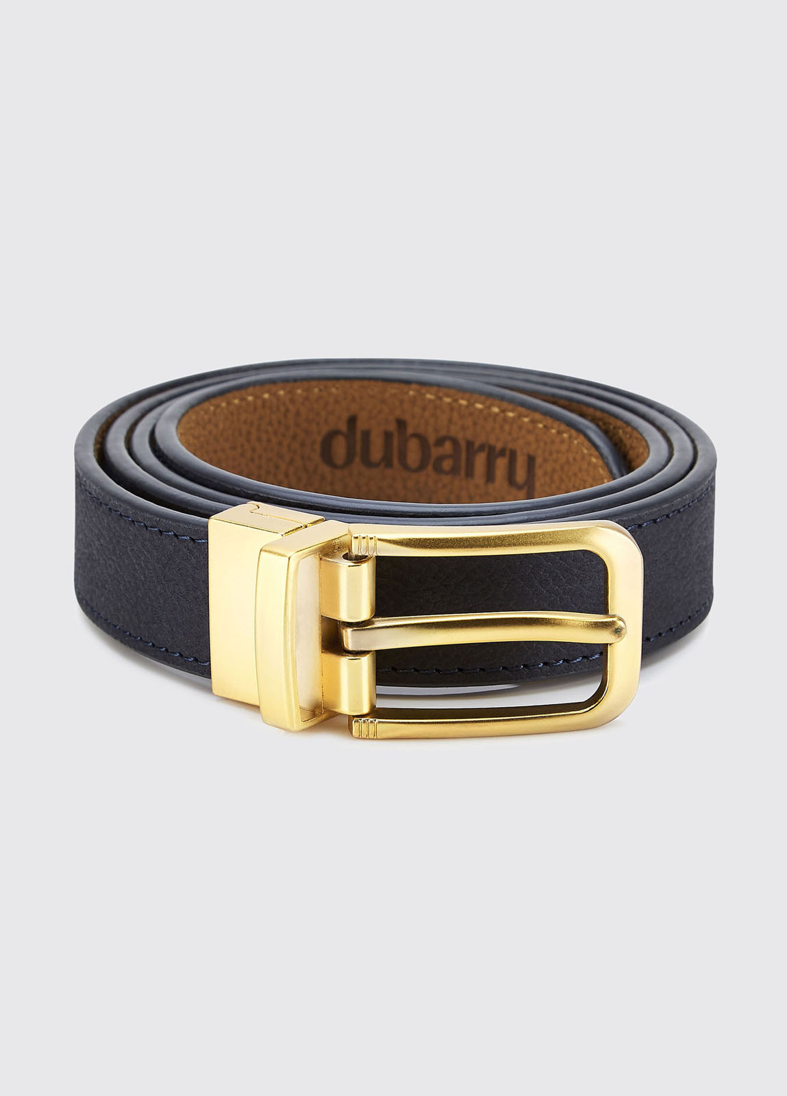 Foynes Leather Belt - Navy/Tan