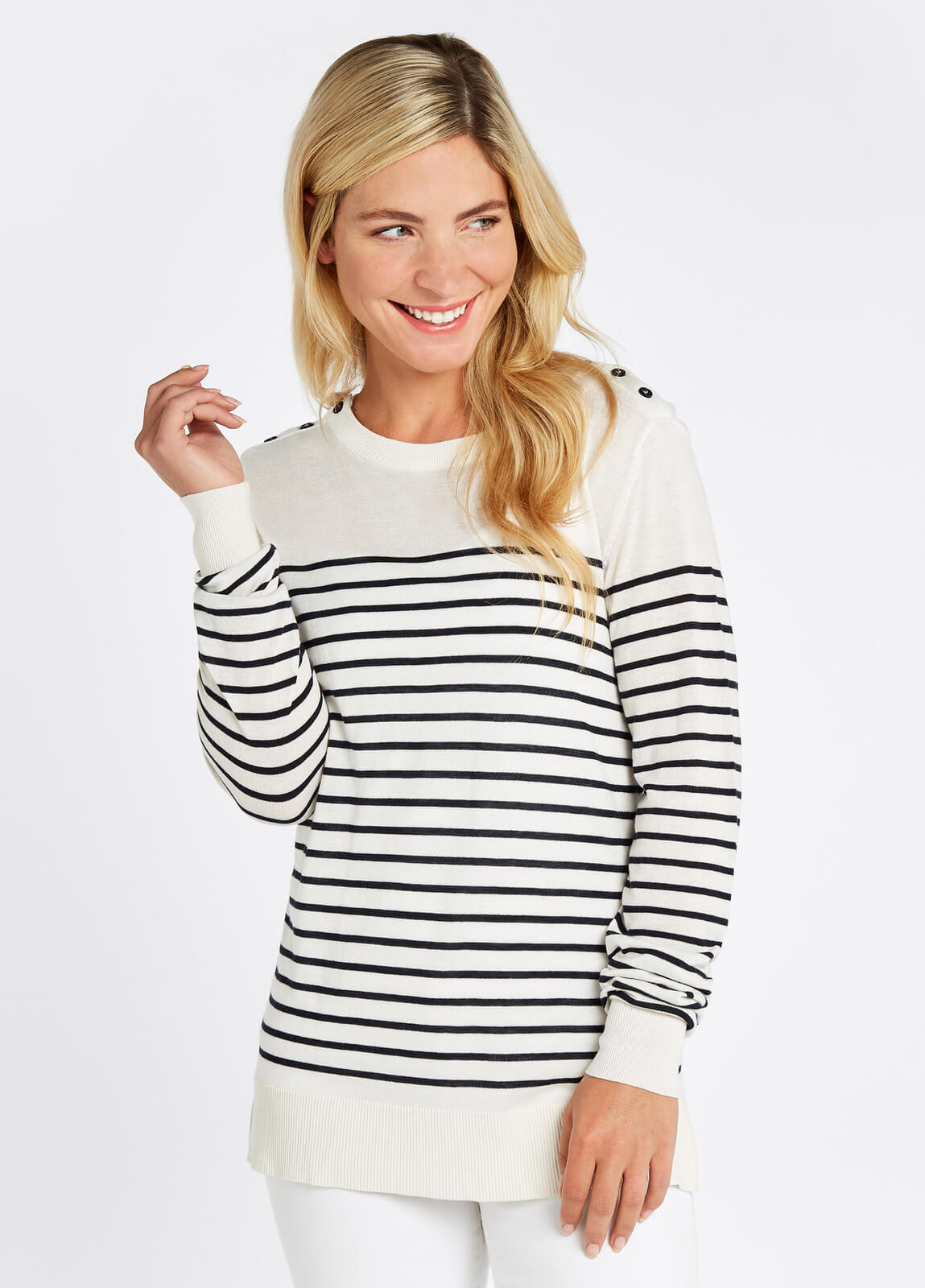 Portlaw_Lightweight_Sweater__White_on_model