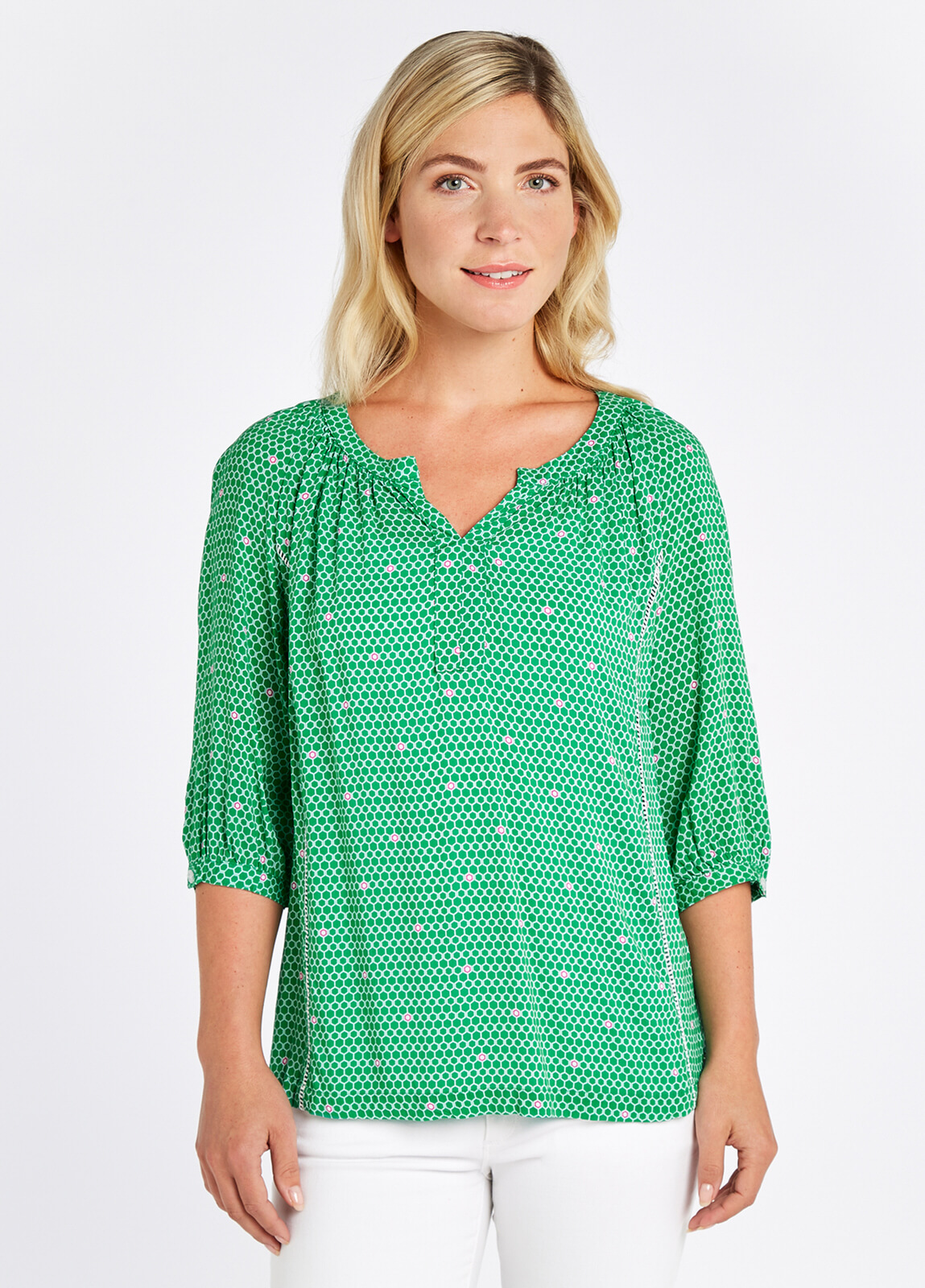 Dubarry_Cloudberry_Top_Kelly_Green_on_model