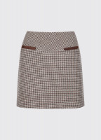 Clover Tweed Mini Skirt - Cafe