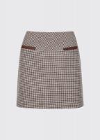 Clover Tweed Mini Skirt - Cafe