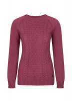 Shandon Ladies Cable Knit Sweater - Malbec