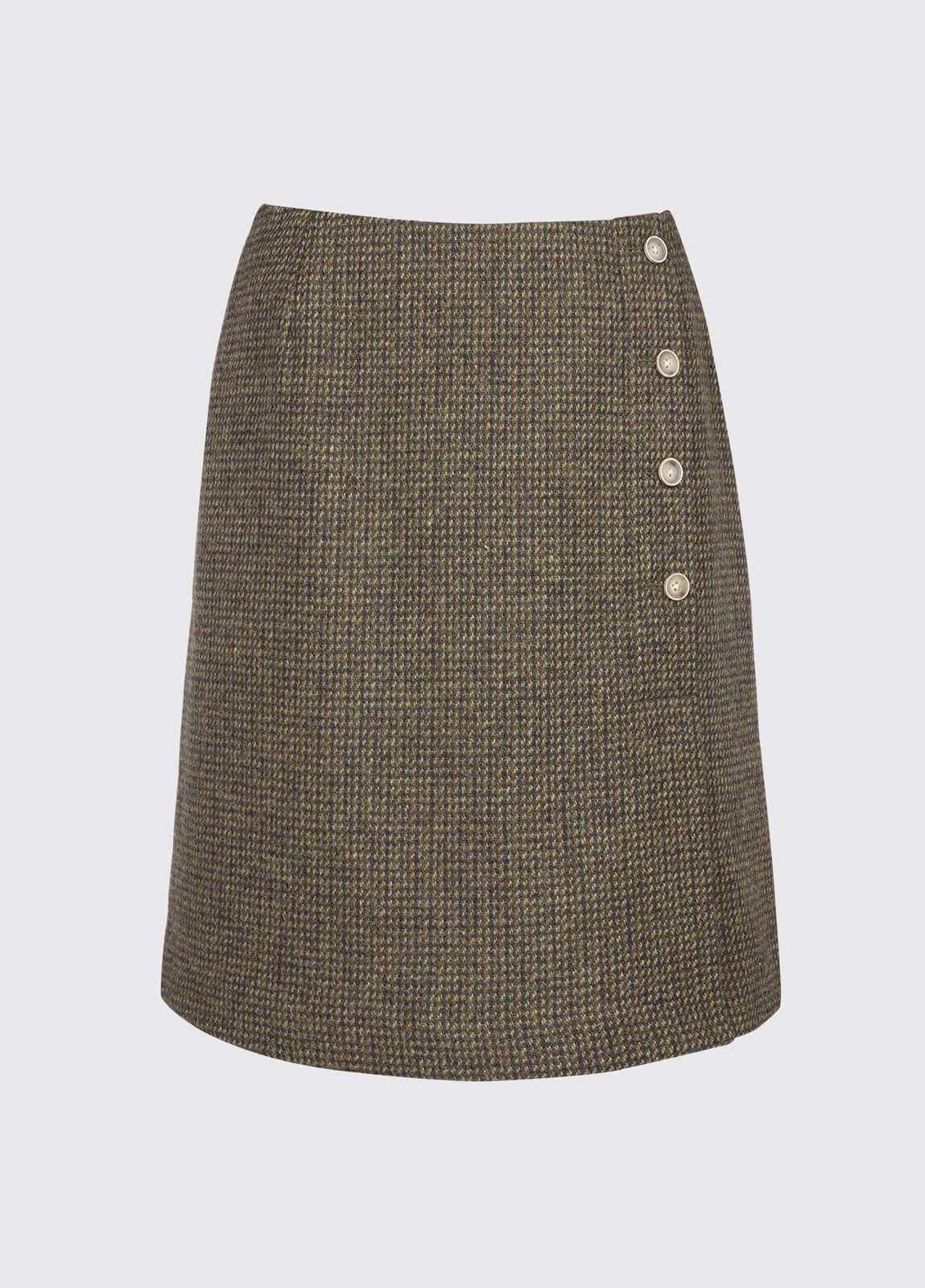 Marjoram Slim Tweed Skirt - Heath