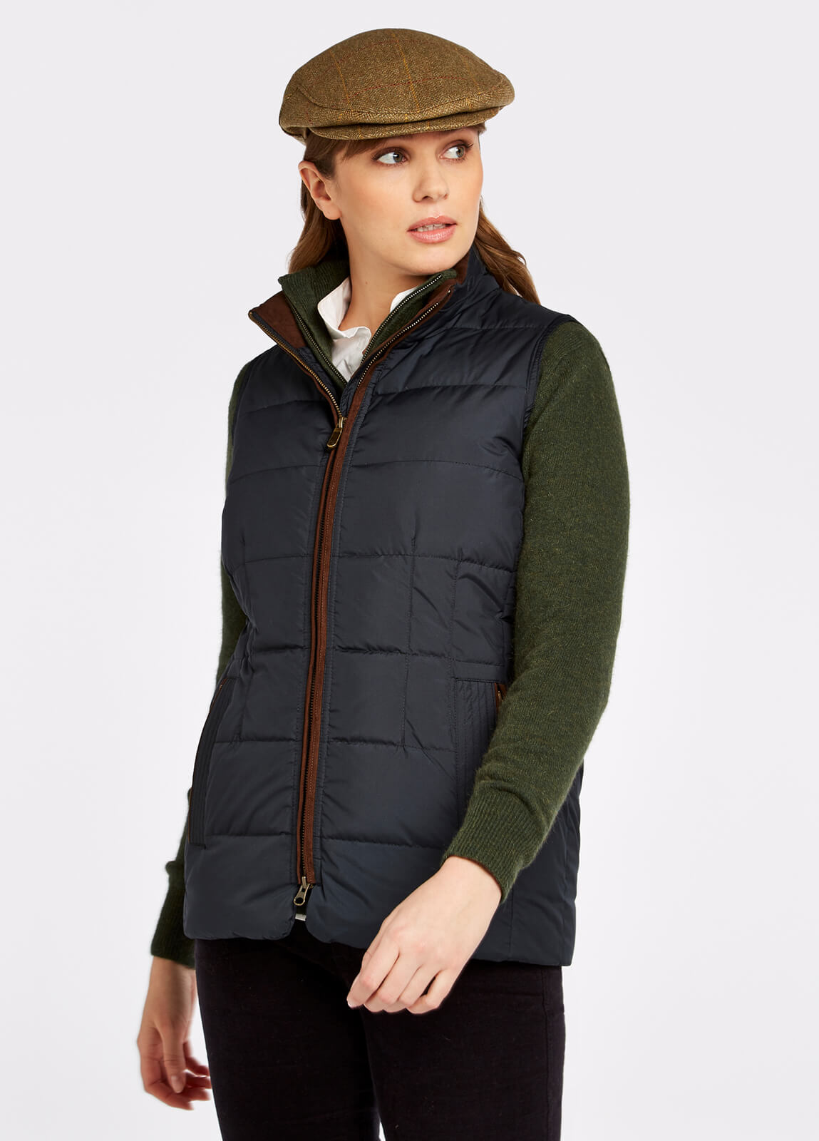 Dubarry_Spiddal_Quilted_Gilet_Navy_Multi_on_model