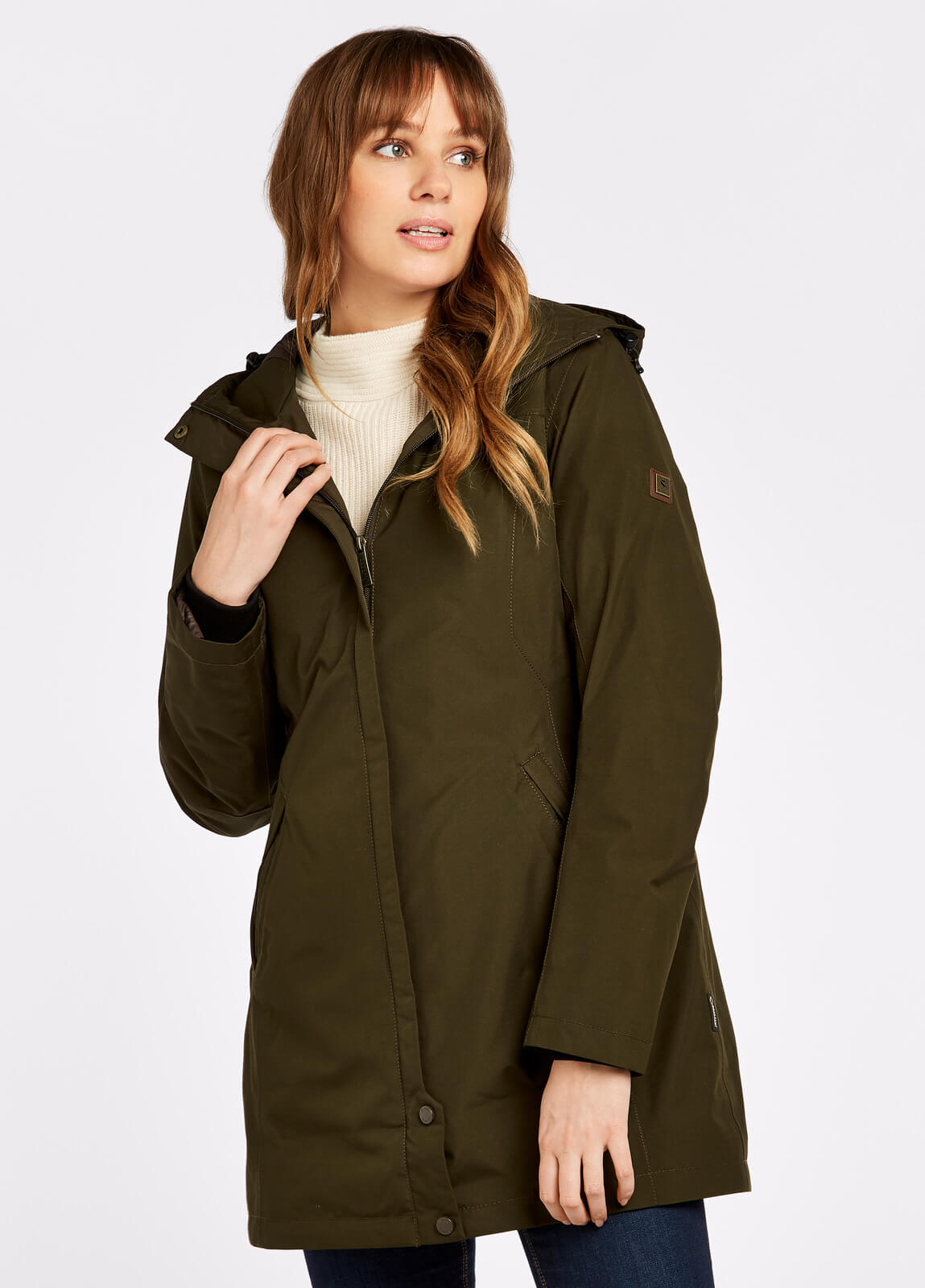 Dubarry_Bunratty_Travel_Coat_Olive_on_model