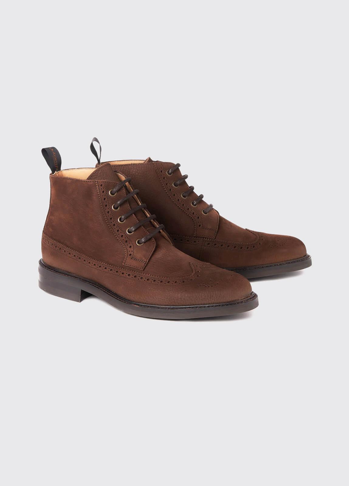Down Goodyear Brogue Boot - Walnut