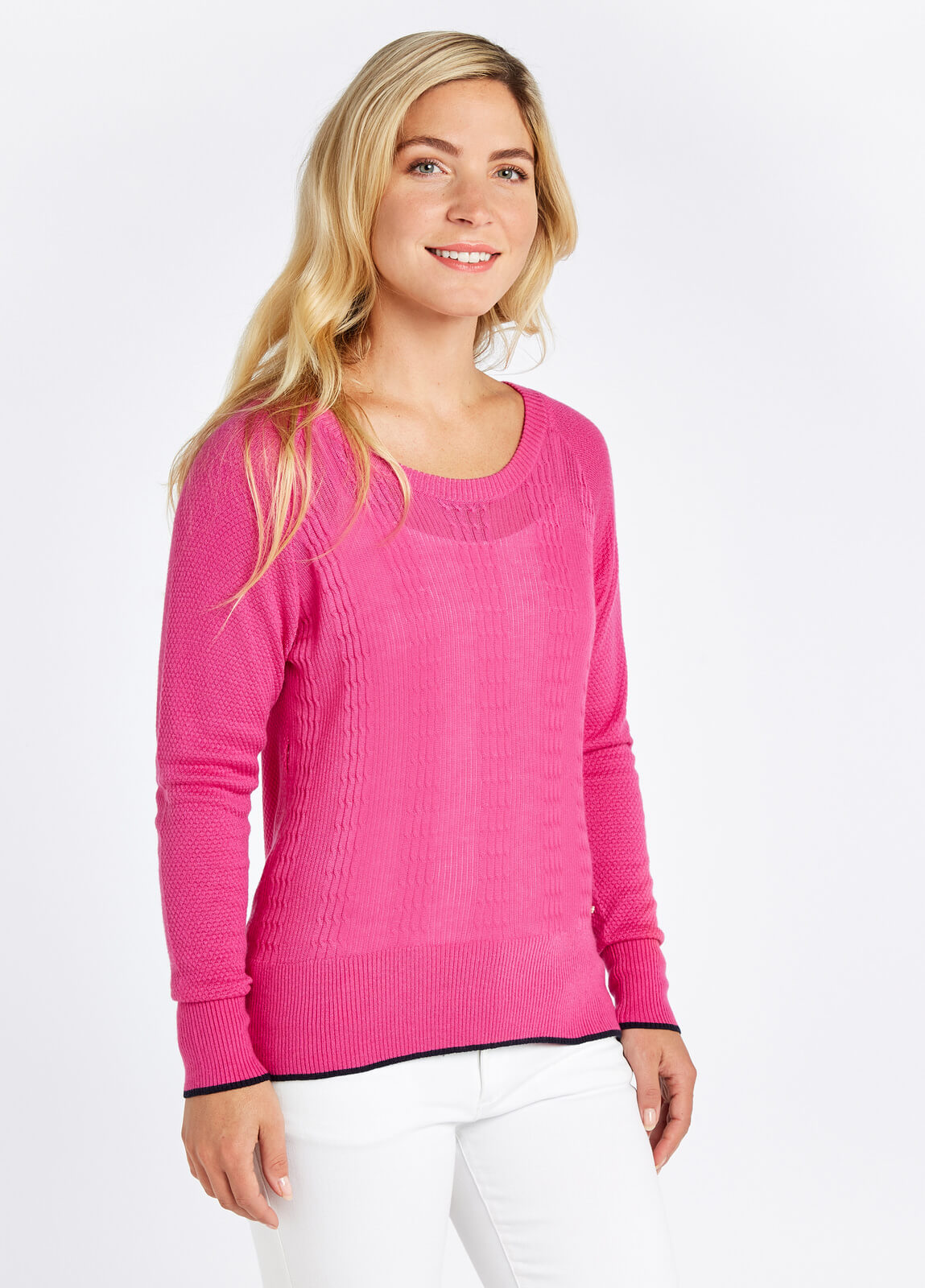 Dubarry_Clifton_Sweater_Orchid_on_model