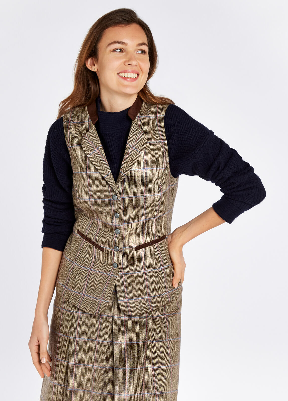 Dubarry_Spindle_Tweed_Waistcoat_Woodrose_on_model