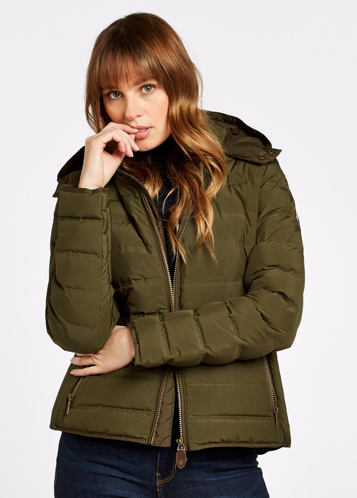 Dubarry_Kilkelly_Quilted_Coat_Olive_on_model