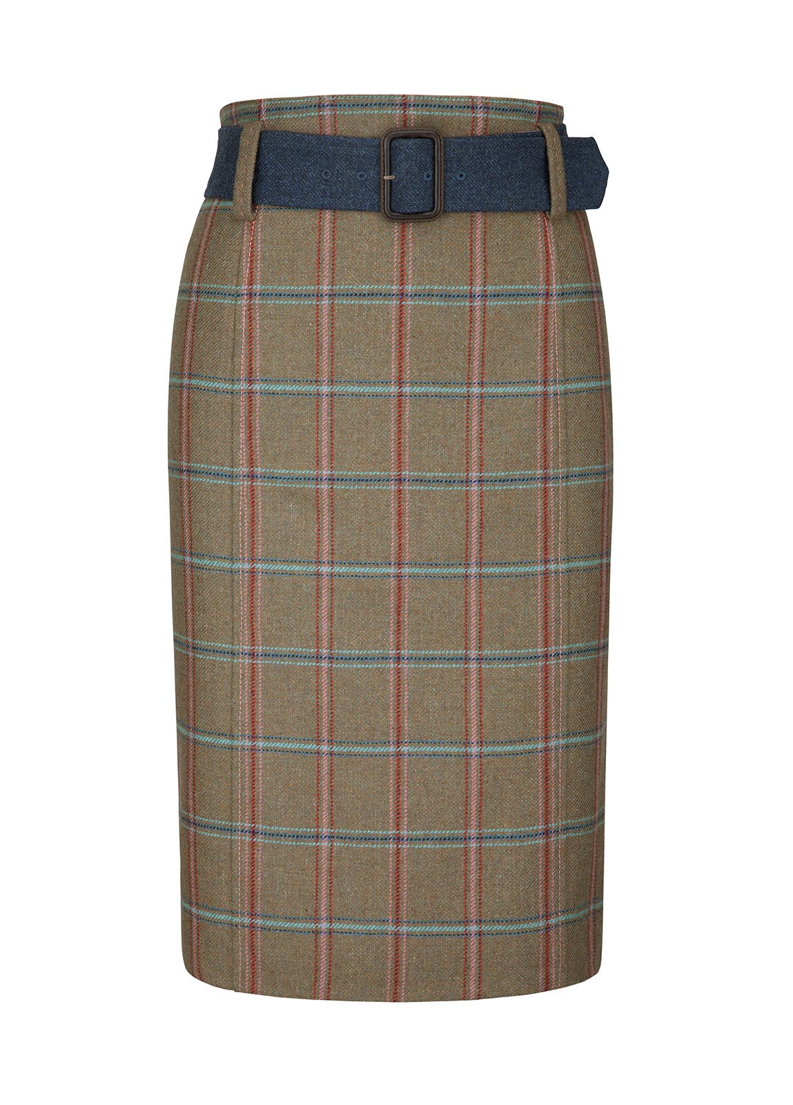 Arrowgrass Knee Length Tweed Skirt - Olive