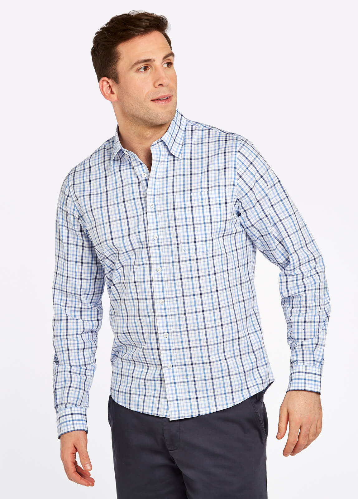 Dubarry_Rathdrum_Check_Shirt_Blue_on_model