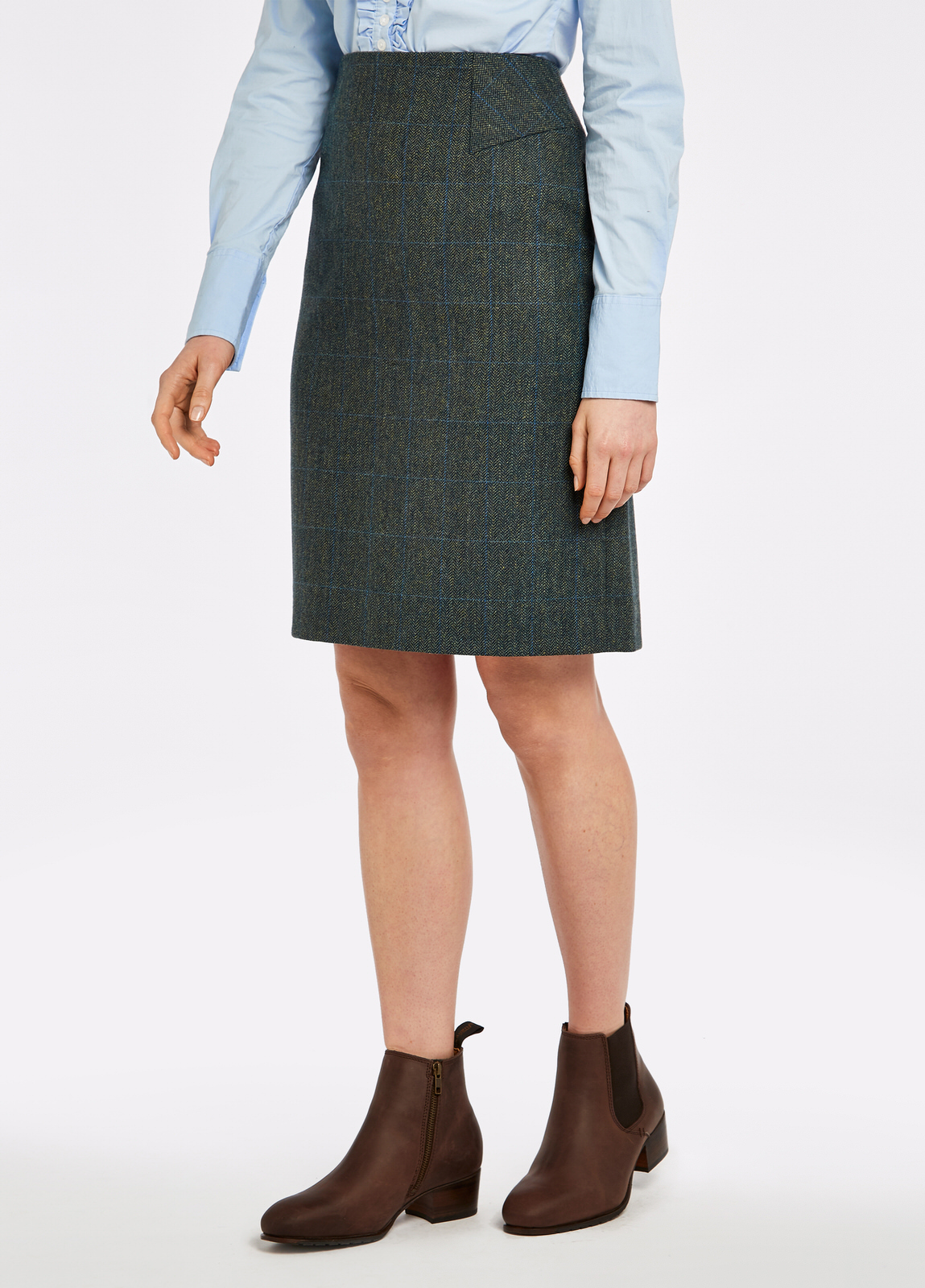 Dubarry_Fern_Tweed_Skirt_Mist_on_model