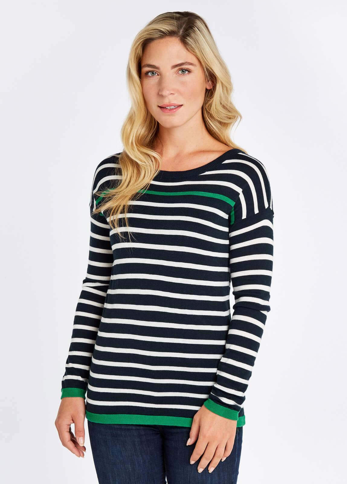 Leixlip_Sweater_Navy_Multi_on_model