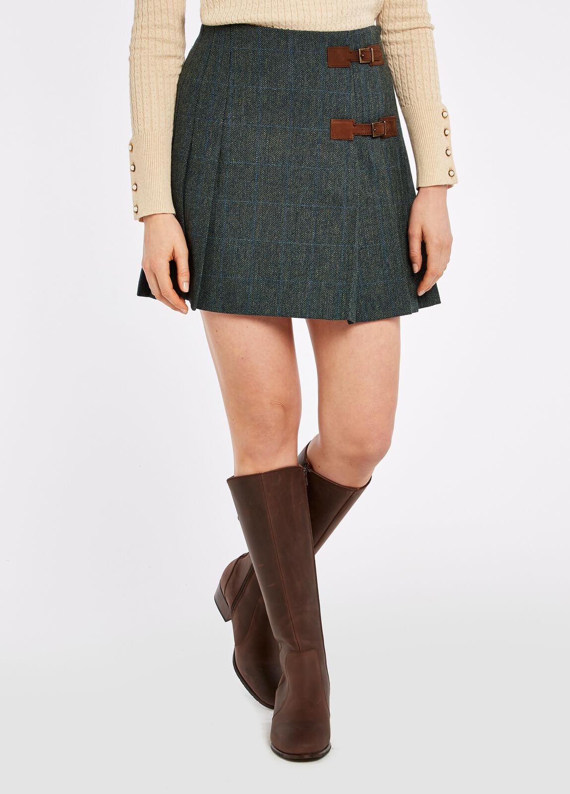 Dubarry_Blossom_Tweed_Skirt_Mist_on_model