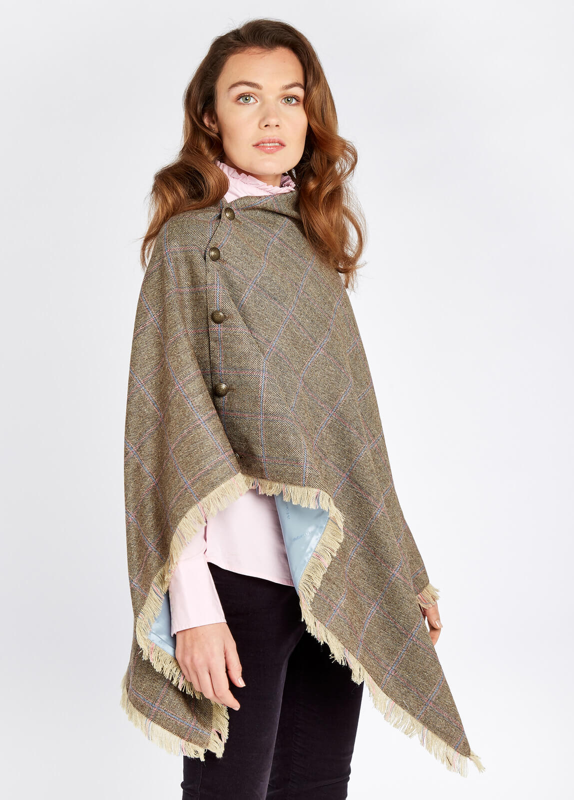 Dubarry_Hazelwood_Tweed_Poncho_Woodrose_on_model