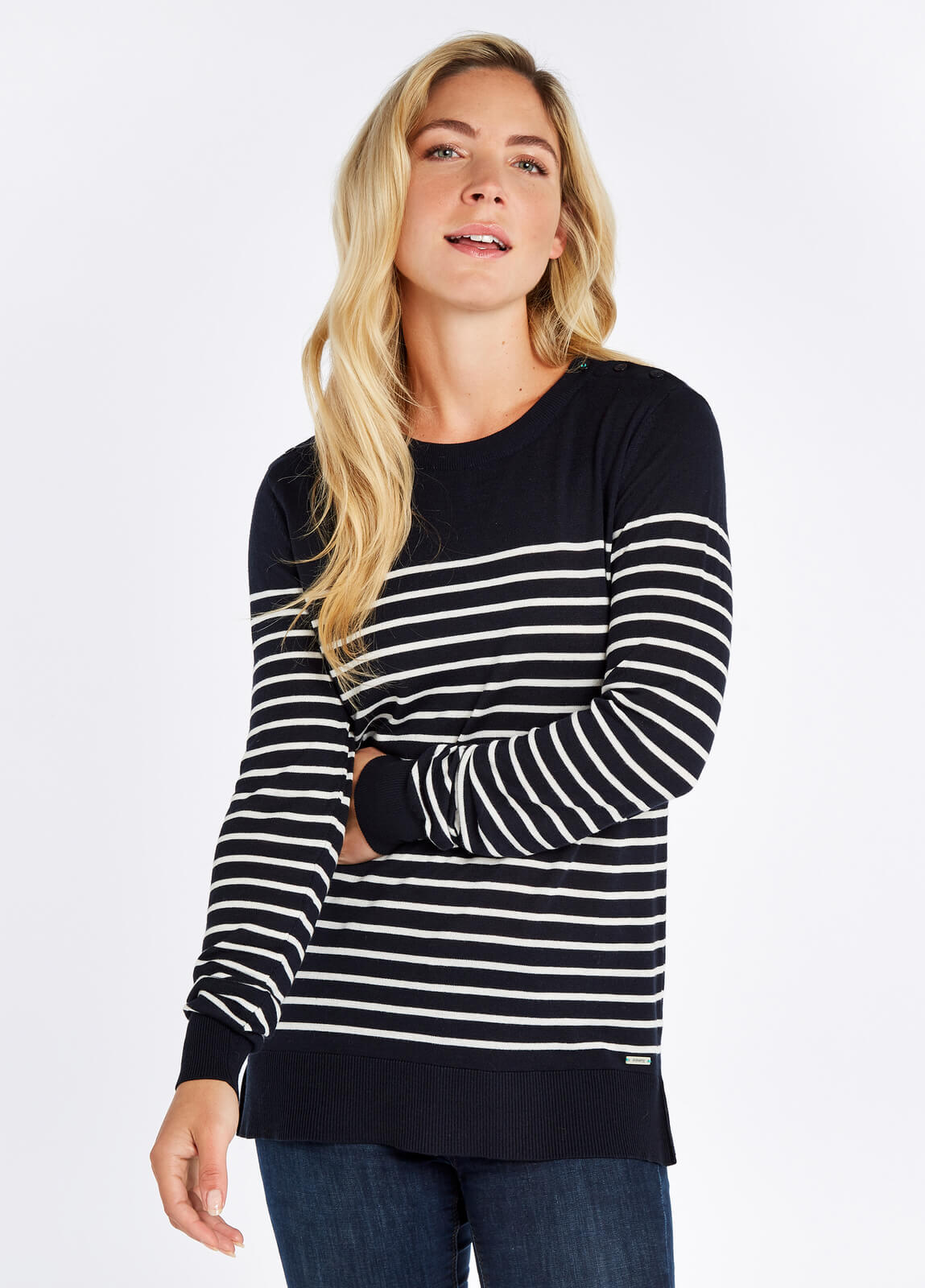 Portlaw_Lightweight_Sweater__Navy_on_model