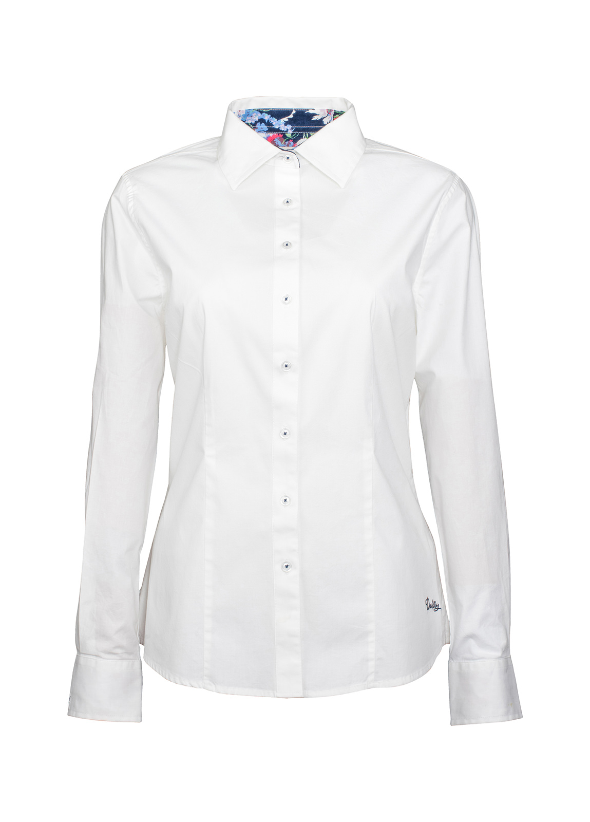 Petunia Floral Trim Shirt - White