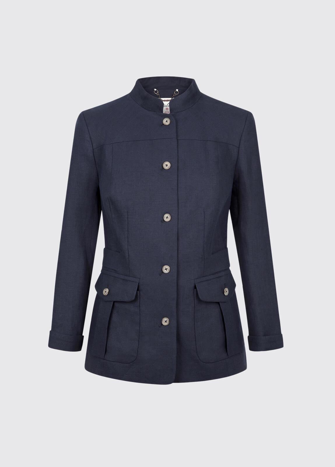 Malahide Women's Linen Jacket - Navy