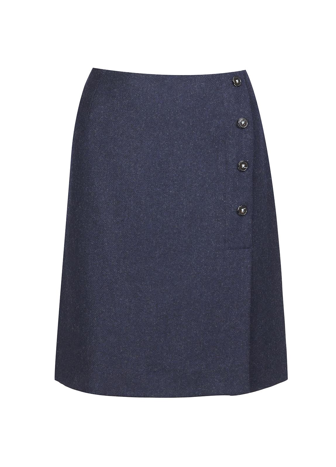 Marjoram Slim Tweed Skirt - Navy